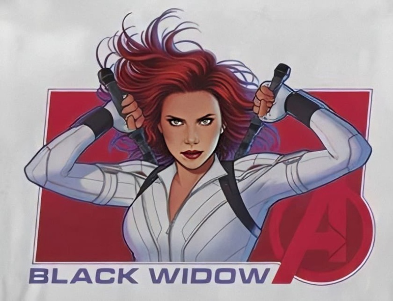 Black Widow in her white suit with the Avengers Logo, by Jen Bartel