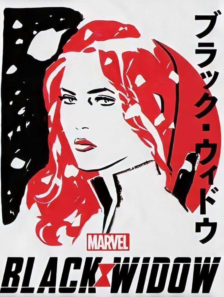 Stylised image of Black Widow on white background, Japanese Text, Marvel and Black Widow Logo
