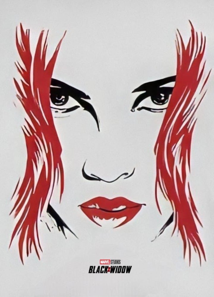 Stylised image of Black Widow's face, Marvel Studios and Black Widow logo