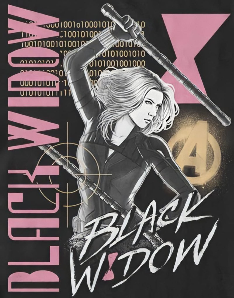 Black Widow in action pose, Avengers Logo, Black Widow Text