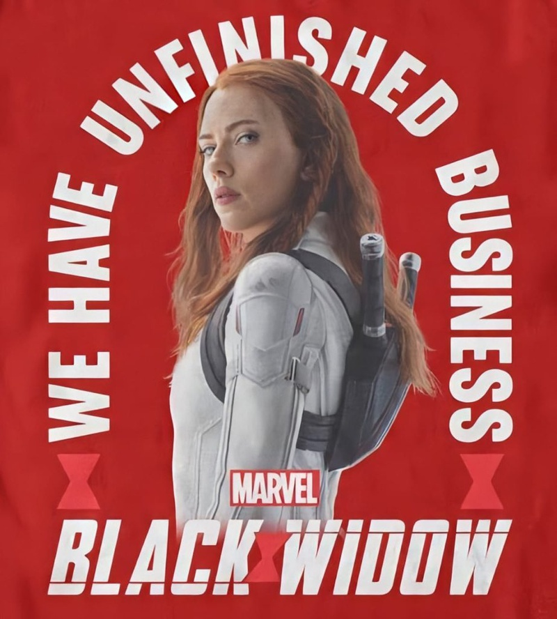 We Have Unfinished Business Text, Scarlett Johansson as Black Widow, Marvel and Black Widow Logo