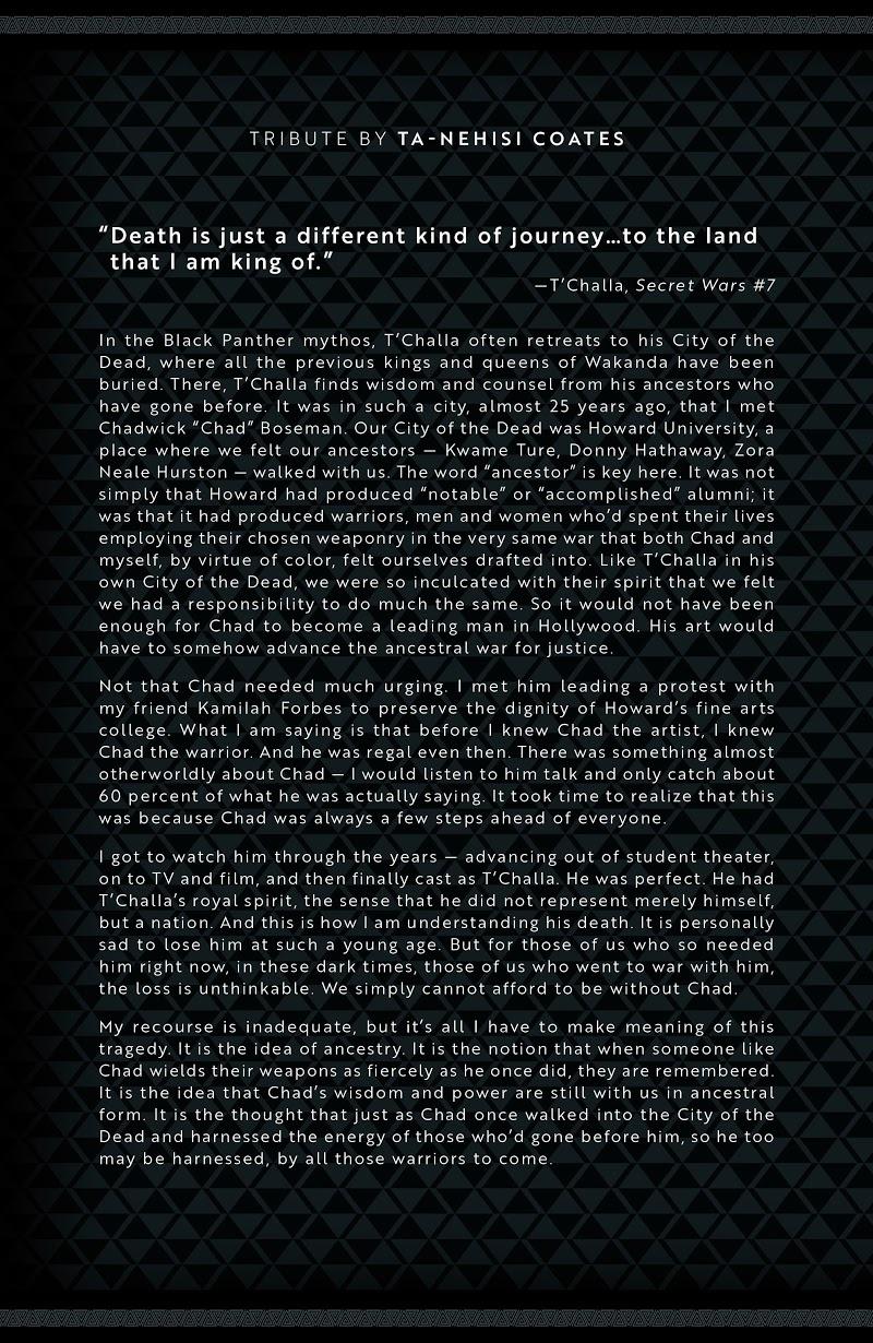 Chadwick Boseman Eulogy Tribute Marvel Comics