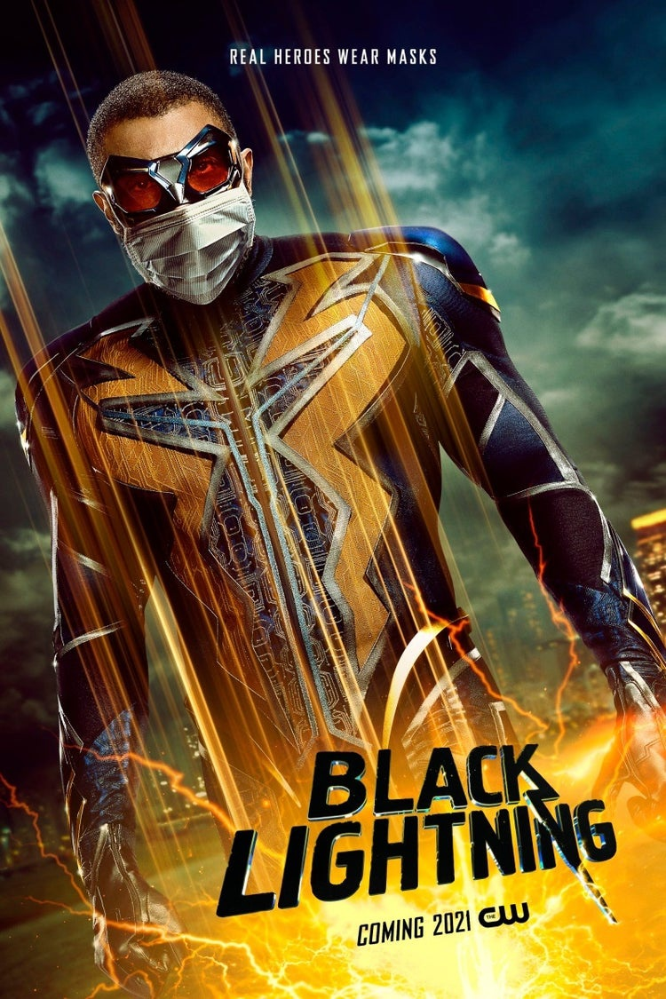 Black Lightning with a mask