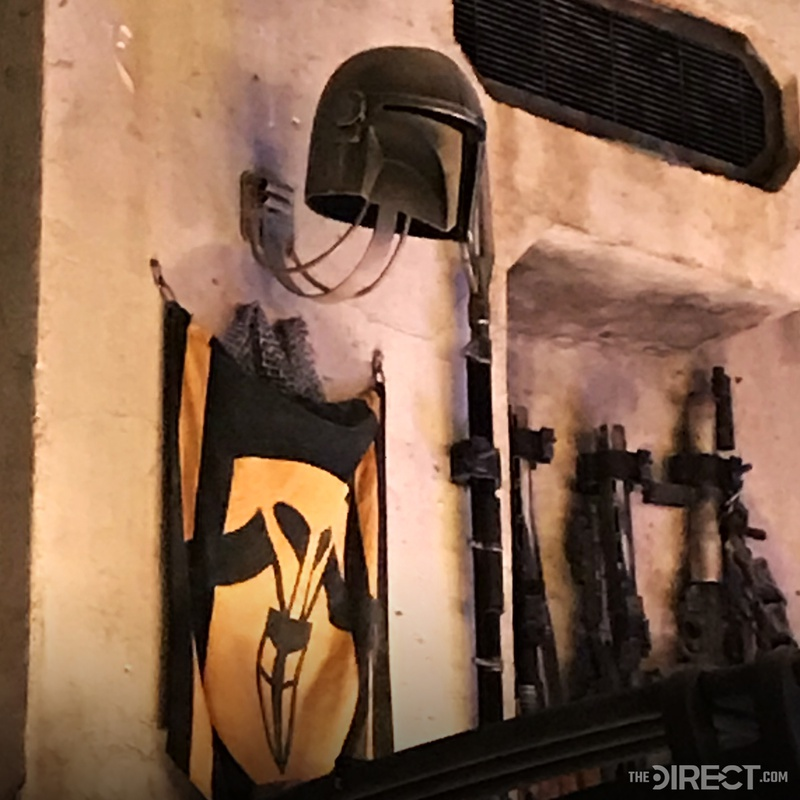 The Mandalorian Helmet and Rifl at Galaxy's Edge