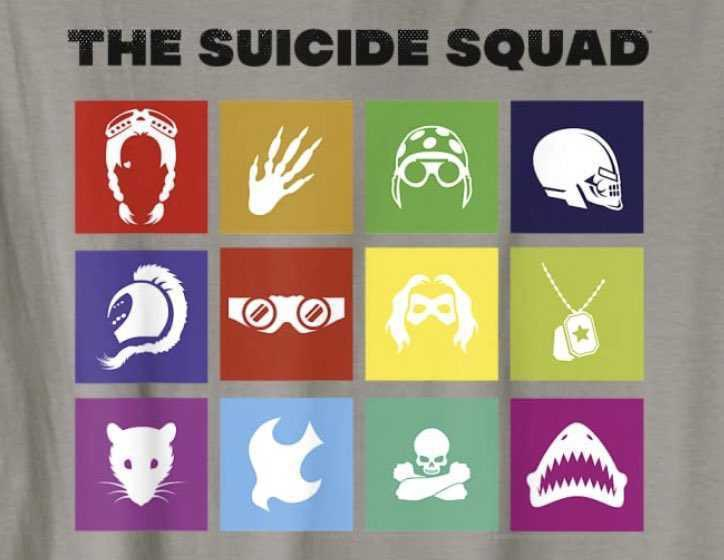 The Suicide Squad leaked promo image 2, featuring character icons from the main cast