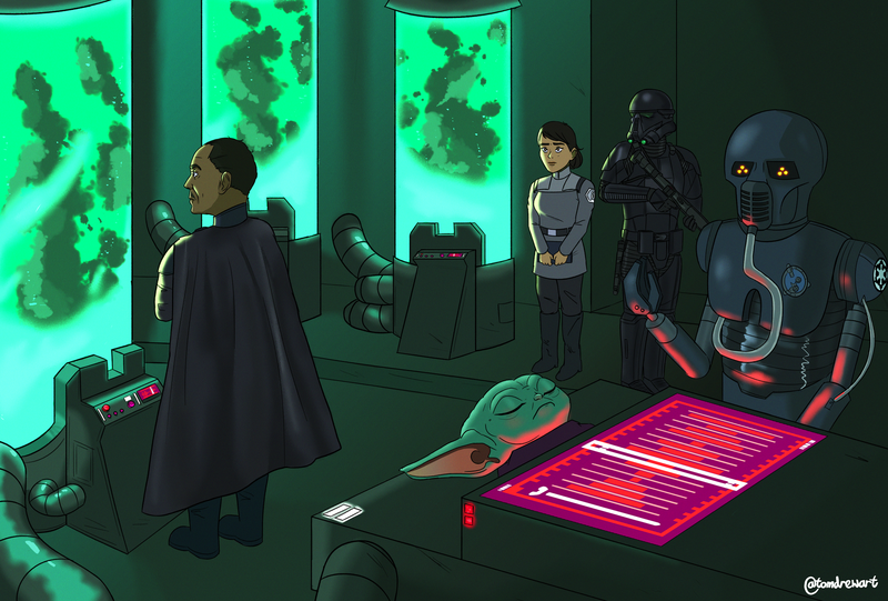 Moff Gideon inspecting cloning chambers, Baby Yoda AKA The Child on a table, Medical Droid, Cloning Officer and Death Trooper all in a bunker