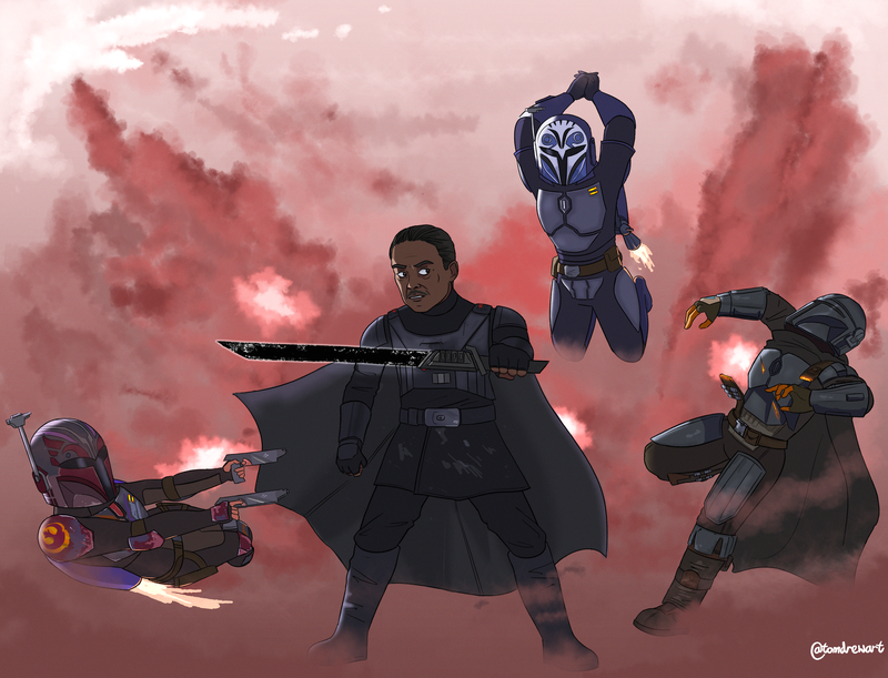 Sabine Wren, Moff Gideon, Bo Katan and Din Djarin fight on a smoky planet