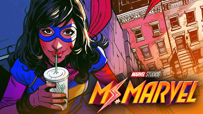 Ms Marvel on a roof, drinking