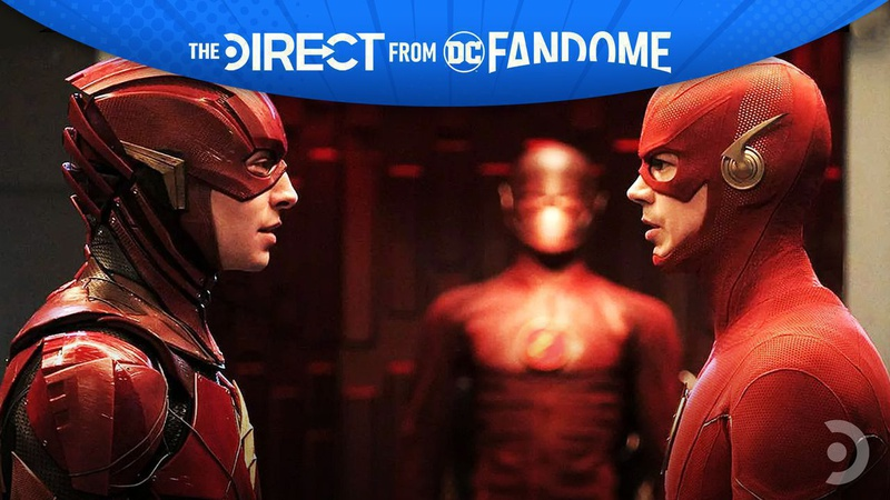 Grant Gustin and Ezra Miller as The Flash