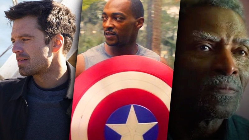 Sebastion Stan as Bucky Barnes, Sam Wilson with Captain America shield, Carl Lumbly as Isaiah Bradley