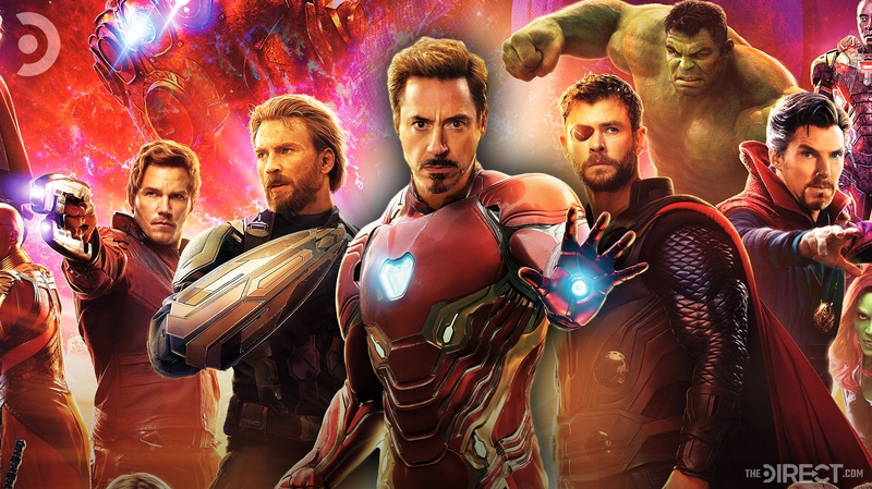 Tony Stark surrounded by Avengers