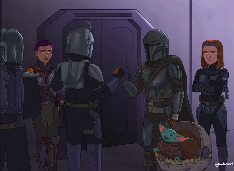 Several Mandalorians, Sabine Wren, Din Djarin, Baby Yoda and Bo Katan in a bunker