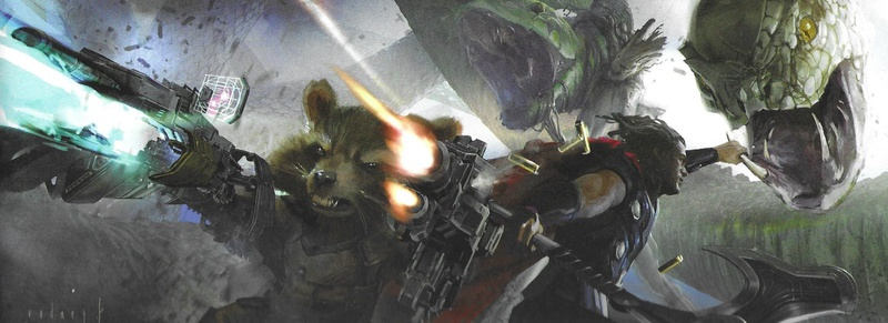 Rocket Raccoon with guns, Thor, The World Serpent, Groot holding a serpent head