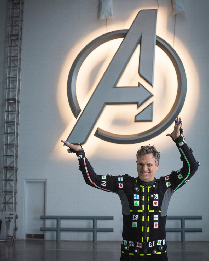 Mark Ruffalo with the Avengers Logo