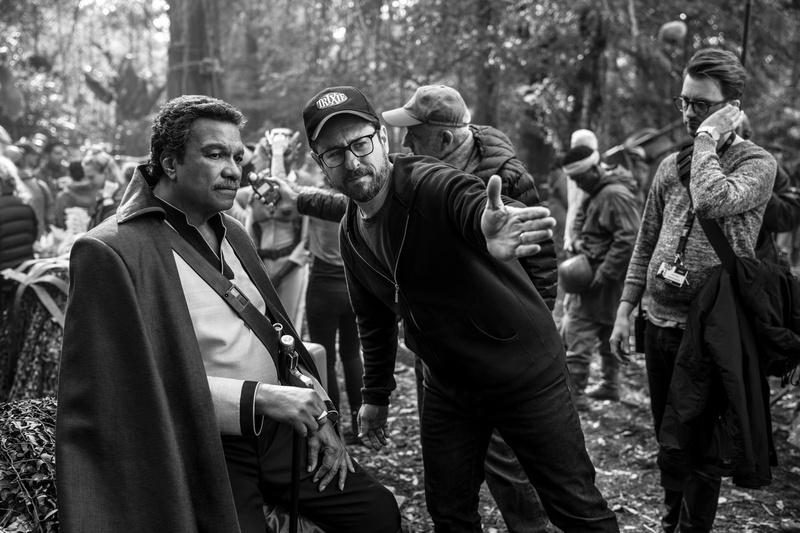 Director JJ Abrams directs Billy Dee Williams on the set of The Rise of Skywalker