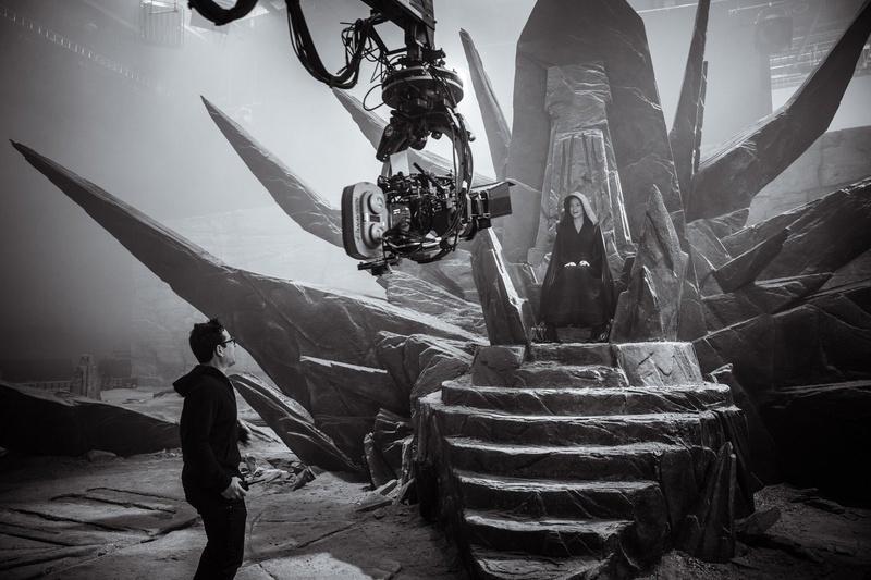 Director JJ Abrams with Daisy Ridley as Dark Rey