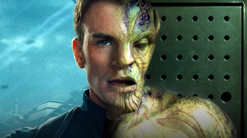 Steve Rogers blended with Skrull
