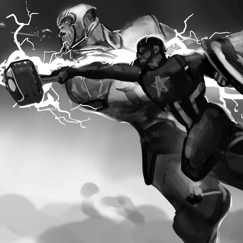 Captain America vs. Thanos keyframe art