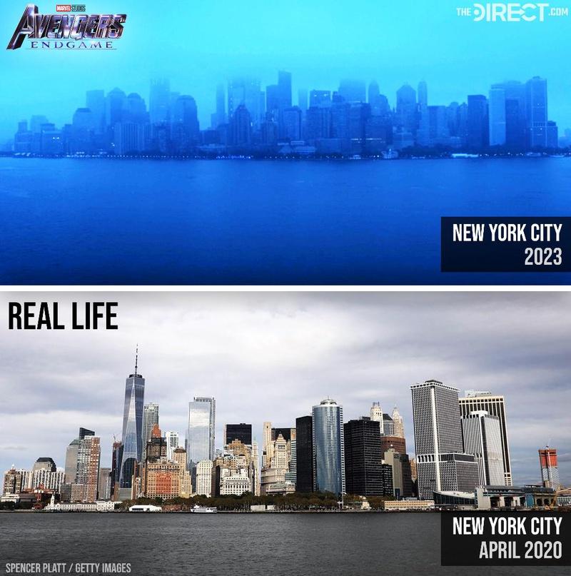 The New York City of 2023 in Avengers: Endgame vs. the New York City of 2020 in our world