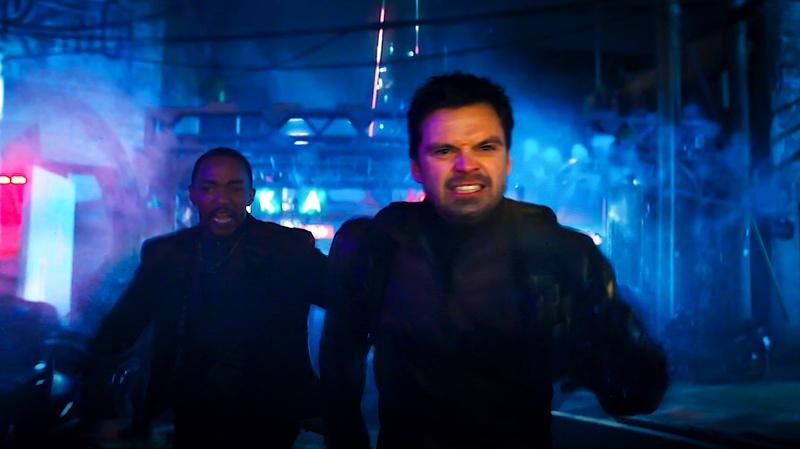 Bucky and Sam running