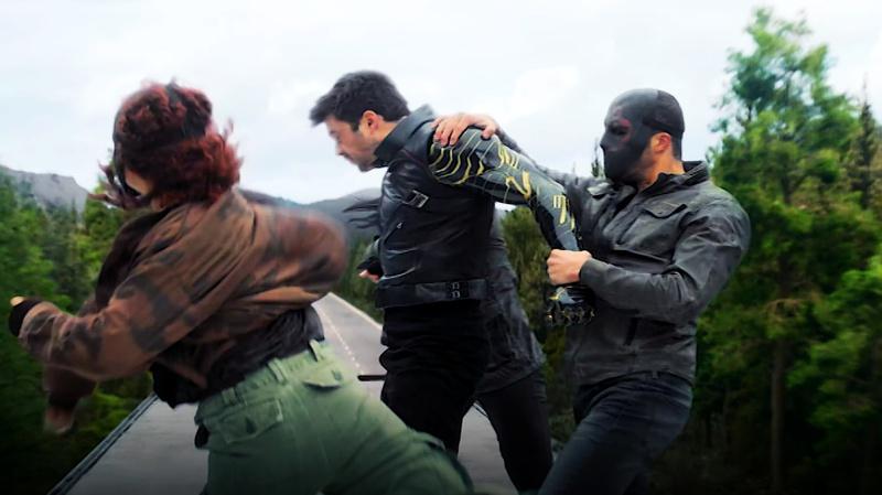 Flag Smasher punching Bucky