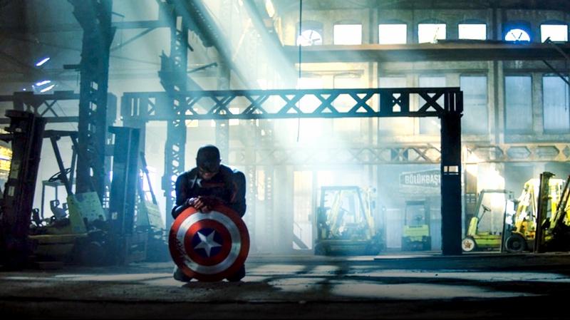 Captain America kneeling