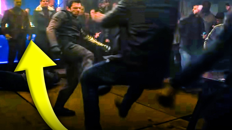 Bucky fighting with Sam and Zemo behind him
