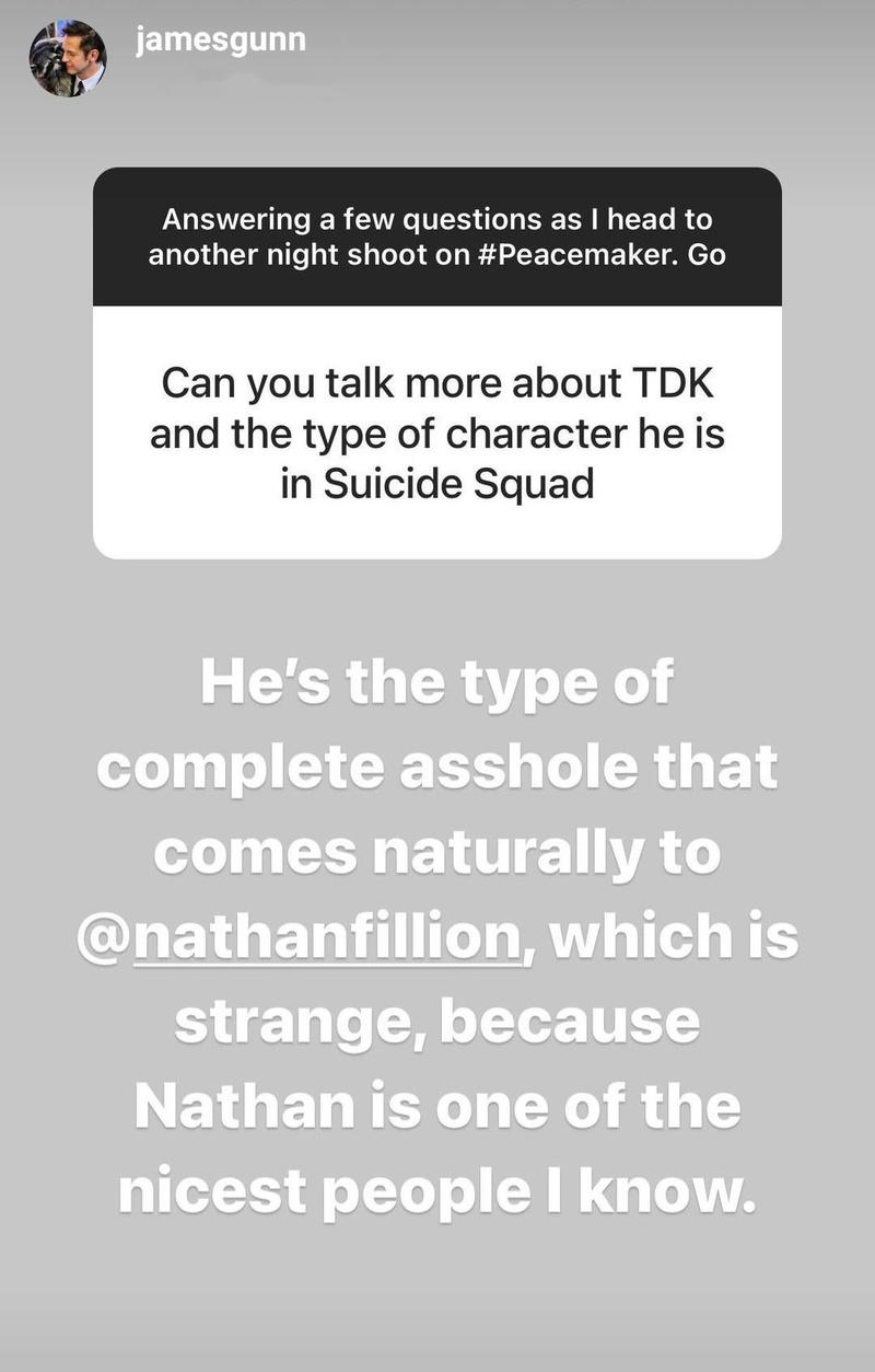 James Gunn's Instagram Story