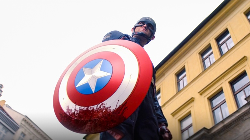 Captain America with bloody shield