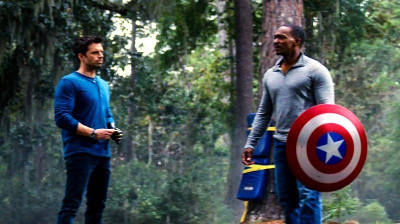 Sam Wilson and Bucky Barnes training with Captain America shield