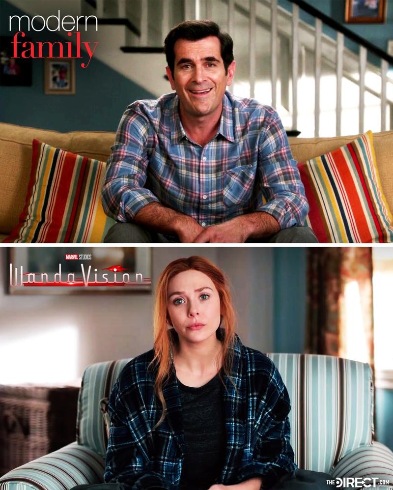 Modern Family scene and WandaVision scene