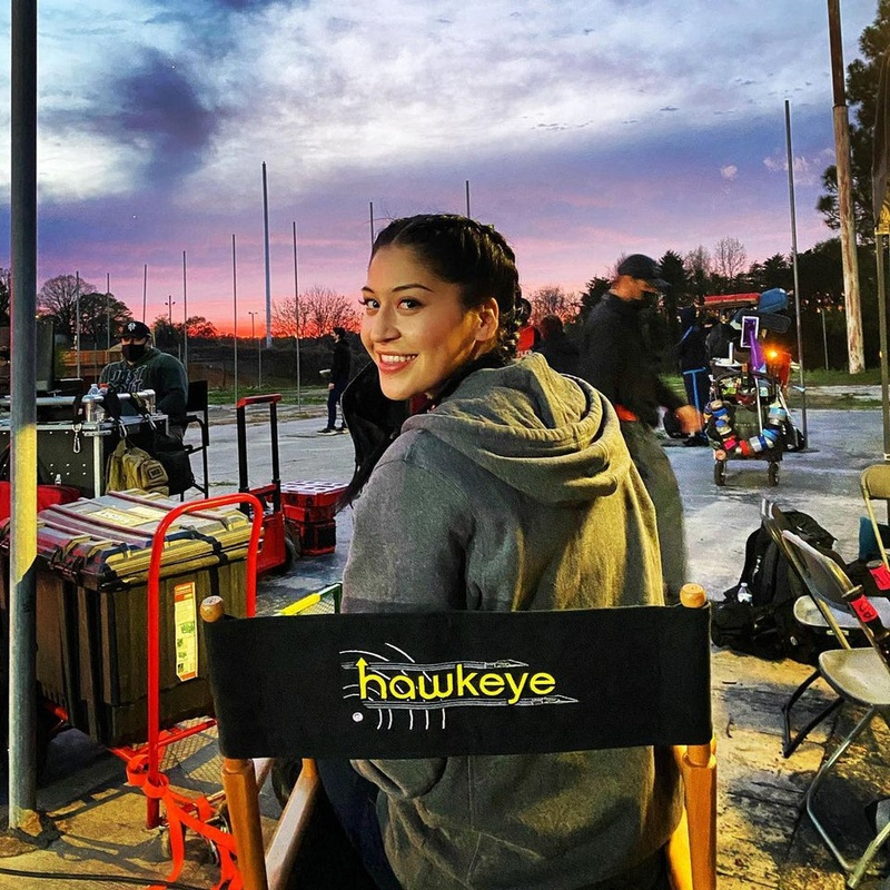 Alaqua Cox on set of Hawkeye