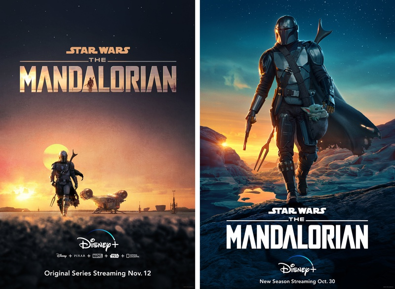 The Mandalorian Season 1 and Season 2 posters