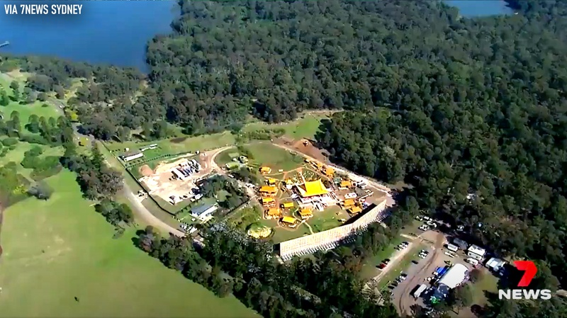 Aerial view of Asian village for Shang-Chi set