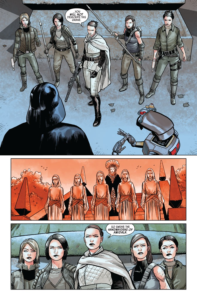 Vader facing off with the handmaidens of Amidala